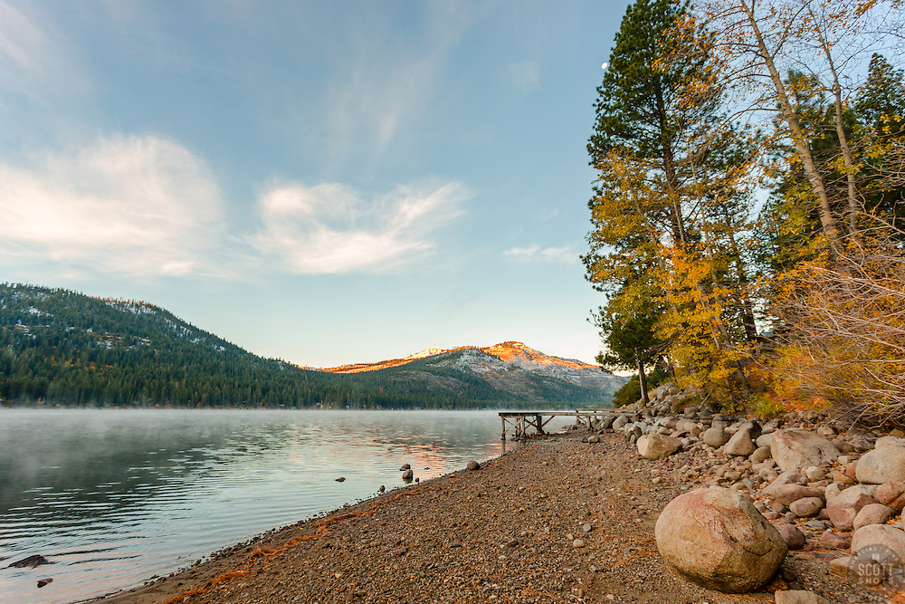 """Donner Lake Morning 17"" - Photograph of Donner Lake and some fall colored trees shot early in the morning."