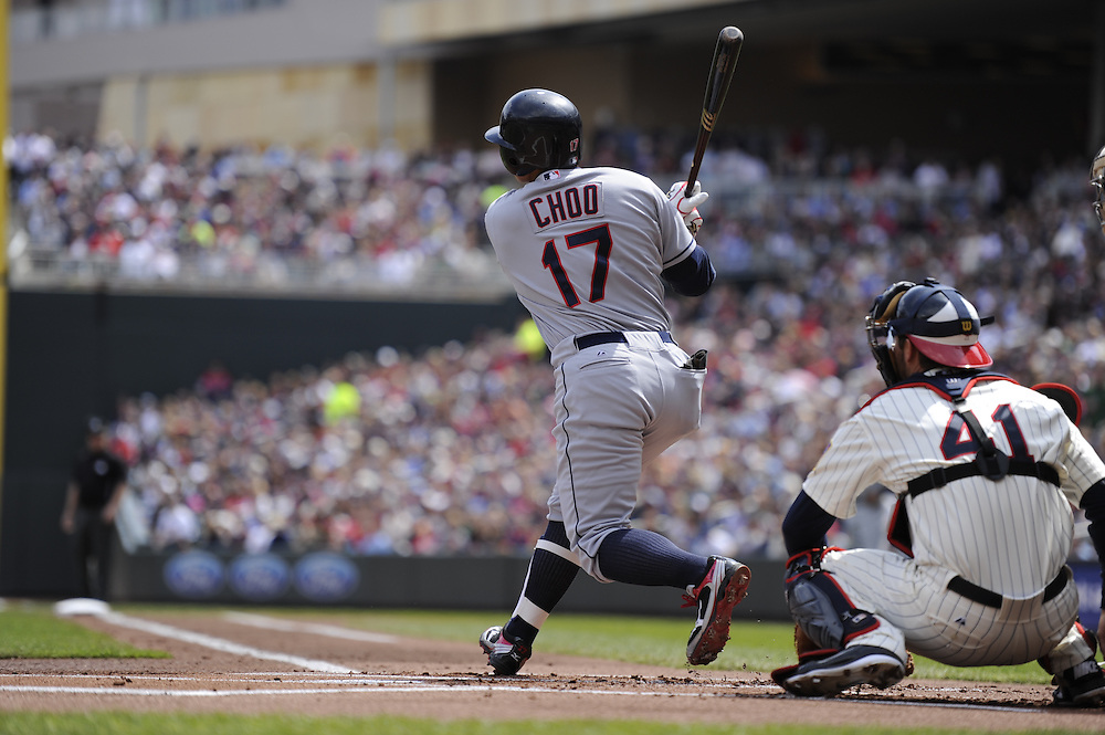 MINNEAPOLIS - APRIL 24:  Shin-Soo Choo #17 of the Cleveland Indians bats against the Minnesota Twins on April 24, 2011 at Target Field in Minneapolis, Minnesota.  The Twins defeated the Indians 4-3.  (Photo by Ron Vesely)  Subject:  Shin-Soo Choo