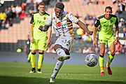 2nd time lucky MKDons forward Kieran Agard (14) scores this penalty during the EFL Sky Bet League 2 match between Milton Keynes Dons and Exeter City at stadium:mk, Milton Keynes, England on 25 August 2018.