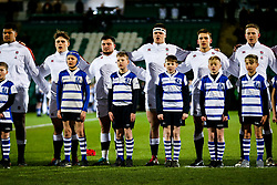 England U20 line up for the national anthem - Rogan/JMP - 21/02/2020 - Franklin's Gardens - Northampton, England - England U20 v Ireland U20 - Under 20 Six Nations.