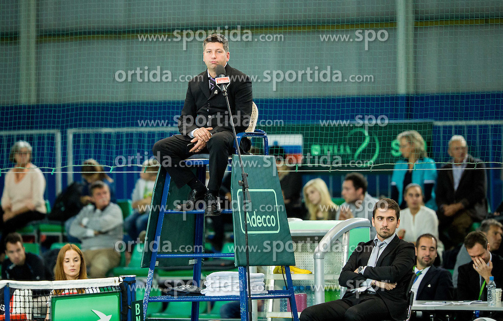 Blaz Anze Pipan during Davis Cup Slovenia vs Lithuania competition, on October 30, 2015 in Kranj, Slovenia. Photo by Vid Ponikvar / Sportida