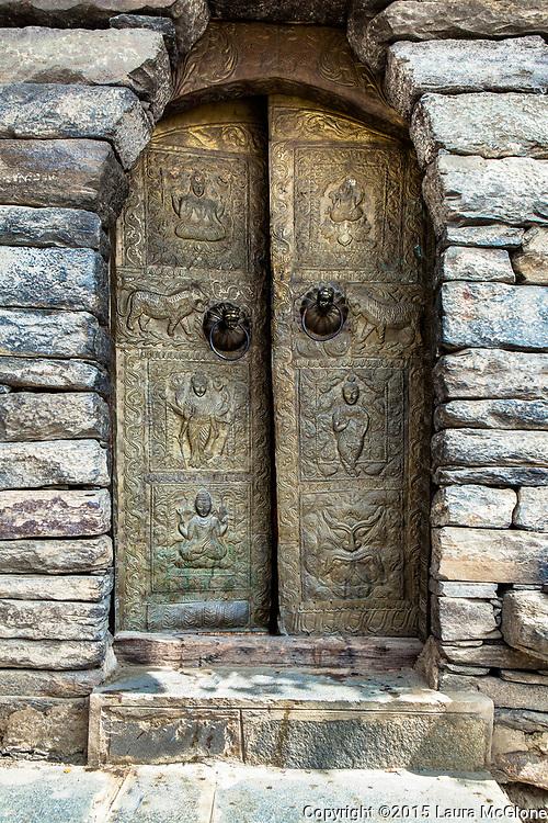 Gold Tibetan Door with Stone Surround, Spiti Valley, India