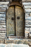 Gold Tibetan Door with Stone Surround, Spiti Valley, India