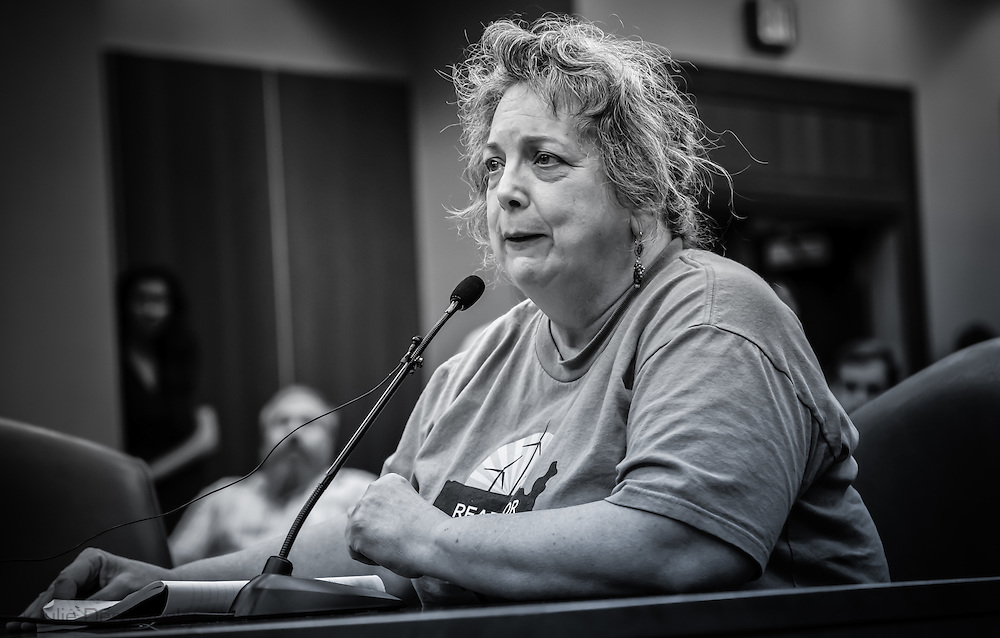 Margie Vicknair-Pray, with the Delta Chapter of the Seirra Club speaking at the permit hearing for the Bayou Bridge Pipeline.