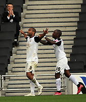 Milton Keynes Dons/Walsall Coca Cola League one  10.10.09 <br /> Photo: Tim Parker Fotosports International<br /> Jermaine Easter MK Dons celebrates 1st goal with Jemal Johnson