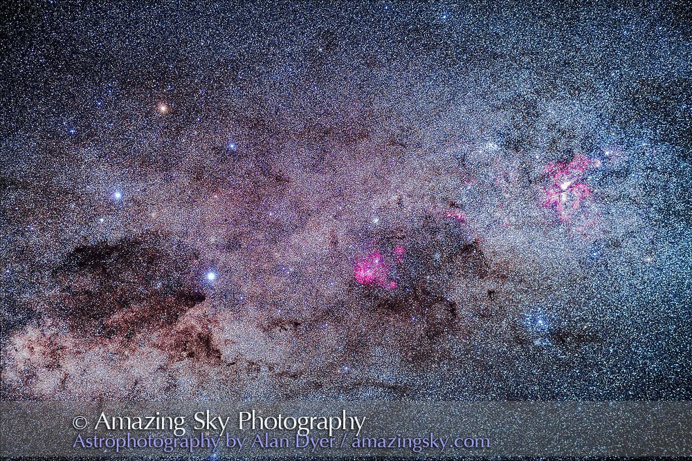 The amazing area of the southern Milky Way in Carina and Crux, the brightest part of the Milky Way after the galactic core region. At right is the Carina Nebula, with the Southern Pleiades cluster, IC 2602, below it. The Football Cluster, NGC 3532, is at upper left of the Carina Nebula. At centre is the region of Lambda Centauri, with the star cluster NGC 3766, the Pearl Cluster, above the emission nebulosity. At left is the Southern Cross, with the dark Coal Sack at bottom left of the Cross, with thin tendrils extending to the right. To the left of Alpha Cruxis at the bottom of the Cross is the star cluster NGC 4609; aboive Alpha is NGC 4649. To the left of Beta Cruxis at the left side of the Cross is the Jewel Box Cluster, NGC 4755. <br /> <br /> This is a stack of 6 x 2.5-minute exposures with the 85mm Rokinon lens at f/2 and filter-modified Canon 5D MkII at ISO 2000, plus one exposure layered in that had some natural haze from high cloud to add the accentuated star glows. On the iOptron Sky-Tracker, from Tibuc Gardens Cottage at Coonabarabran, Australia.