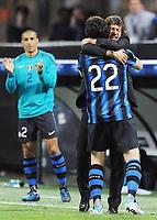 Milano, 05/04/2011<br /> Champions League/Inter-Schalke 04<br /> Gol Inter: Milito esulta con Leonardo