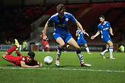 Penalty claim for Leyton Orient but not given during the Vanarama National League match between Leyton Orient and Gateshead at the Matchroom Stadium, London, England on 24 October 2017. Photo by Robin Pope.