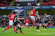 Goal Eoin Doyle of Swindon Town heads the ball and scores a goal 0-1 during the EFL Sky Bet League 2 match between Grimsby Town FC and Swindon Town at Blundell Park, Grimsby, United Kingdom on 7 December 2019.