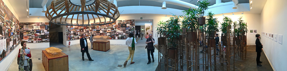 "Venice, Italy - 15th Architecture Biennale 2016, ""Reporting from the Front"".<br /> International Pavilion.<br /> Simon Vélez's Battles and Strategies to be able to use bamboo."