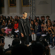 London, England, UK. 17th September 2017. Desinger Shun Yu - FJU Talents Showcases lastest collection at FASHION SCOUT SS18 Day 3 at Freemasons Hall.