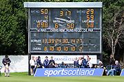 Scotland scored 317 in the One Day International match between Scotland and Zimbabwe at Grange Cricket Club, Edinburgh, Scotland on 15 June 2017. Photo by Kevin Murray.