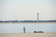 People enjoy the warm weather Sunday, October 30, 2016 in Cape May, New Jersey. (Photo by William Thomas Cain/Cain Images)