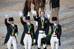 Team Germany, Werth Isabell, Schneider Dorothee, Rothenberger Sonke, Broring-Sprehe Kristina, GER<br /> Olympic Games Rio 2016<br /> © Hippo Foto - Dirk Caremans<br /> 12/08/16