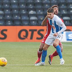 #11 Jordan Jones (Kilmarnock) fouls #2 Shaleum Logan (Aberdeen) - Kilmarnock v Aberdeen - Ladbrokes Premiership - 26 November 2017 - © Russel Hutcheson | SportPix.org.uk