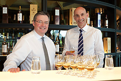 EMBARGOED: 00.01 TUE 22052018. Scott McCroskie (left), managing director, The Macallan, and Ian Curle, chief executive of Edrington Group, owner of The Macallan, in the new distillery and visitor centre on the Easter Elchies Estate, Speyside. Pic copyright Terry Murden @edinburghelitemedia EMBARGOED: 00.01 TUE 22052018