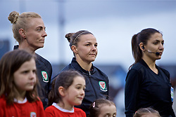 NEWPORT, WALES - Thursday, April 4, 2019: Wales' Sophie Ingle (L) and captain Loren Dykes line-up before an International Friendly match between Wales and Czech Republic at Rodney Parade. (Pic by David Rawcliffe/Propaganda)