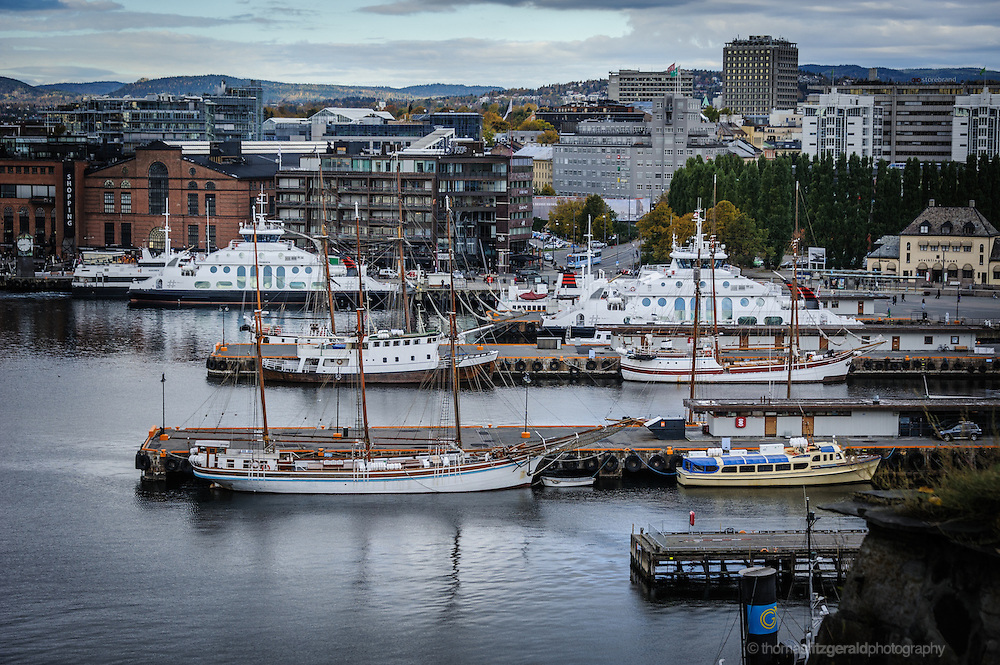 Oslo, Norway, October 2012: A view over the quays at the harbour in Oslo