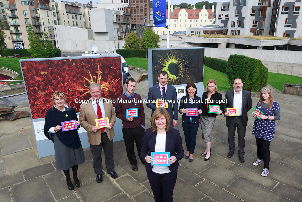 Members of the Green MSP posing for a photos taken in the firs place Alison Johnstone with L-R Jane W Denholm, Iain Taylor, Malcon Wadia, Stephen Ransay, Jil Murphy, Alex Lambert, David Brook and Lari Don.<br /> <br />  Green MSP to hit independence referendum trail. Alison Johnstone to highlight how voting Yes on September 18 could help set up a small business revolution in the Dynamic Earth, Edinburgh.<br /> Pako Mera/Universal News And Sport (Europe) 09/09/2014