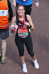 Actress Nikki Sanderson with her medal  at the end of the  London Marathon, Sunday 21st  April 2013 Photo by: Stephen Lock / i-Images