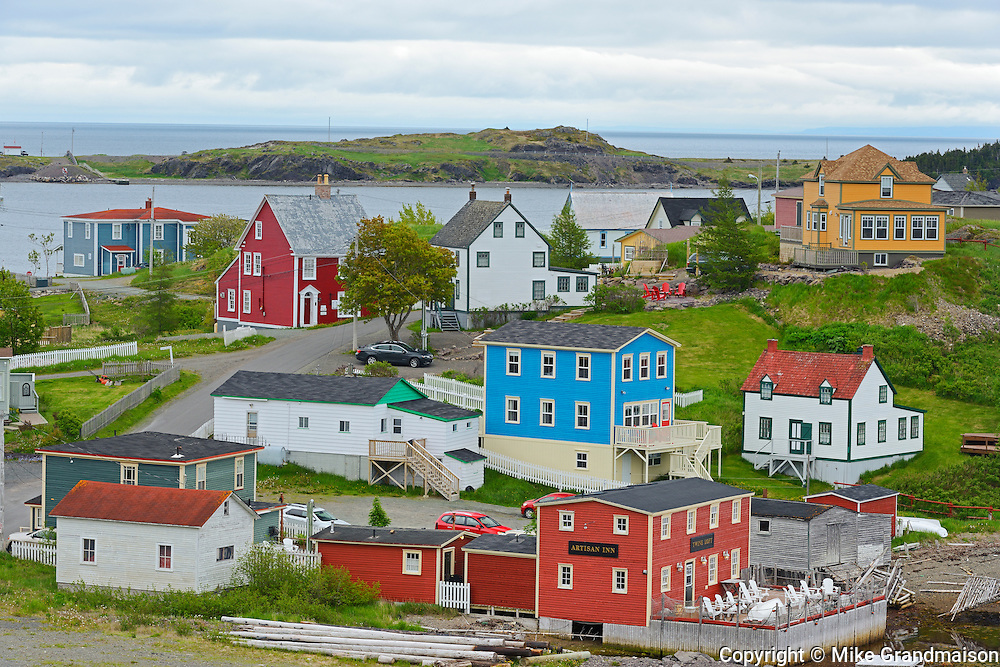 Colourful coastal fishing Village of Trinity on the Atlantic Ocean shoreline.<br /> Trinity<br /> Newfoundland & Labrador<br /> Canada