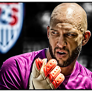 June 01, 2014: USA Men's National Team Tim Howard goalkeeper (1) gestures with his glove prior to the  U.S.A. Men's National Team vs. Turkish National Team- World Cup send off match at Red Bull Arena - Harrison, NJ.  Mandatory Credit: Kostas Lymperopoulos/Cal Sport Media  (Credit Image: © Kostas Lymperopoulos/ Cal Sport Media)