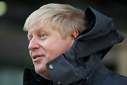 © Licensed to London News Pictures. 14/03/2016. London, UK. Mayor of London Boris Johnson talking to media at Here East, the former press and broadcast centre in the Queen Elizabeth Olympic Park in London after kick starting National Apprenticeship Week on Monday, 14 March 2016. Photo credit: Tolga Akmen/LNP