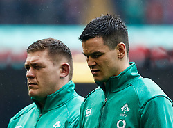 Johnny Sexton of Ireland waits for the anthems<br /> <br /> Photographer Simon King/Replay Images<br /> <br /> Six Nations Round 5 - Wales v Ireland - Saturday 16th March 2019 - Principality Stadium - Cardiff<br /> <br /> World Copyright © Replay Images . All rights reserved. info@replayimages.co.uk - http://replayimages.co.uk