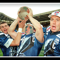 CELEBRATIONS AFTER THE SCOTTISH CLAYMORES BEAT FRANKFURT TO WIN THE WORLD BOWL IN JUNE 1996.<br />