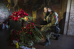 May 9, 2018 - Berlin, Germany - Members of the Russian biker club Night Wolves People commemorate on the 73rd anniversary of the victory of the Soviet Red Army over Nazi Germany at the Soviet World War II cemetery and memorial in Treptow on May 9, 2018 in Berlin, Germany. (Credit Image: © Emmanuele Contini/NurPhoto via ZUMA Press)