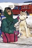 DEU, Germany,  dog sled race in Winterberg, Sauerland, girl with a Siberian Husky.....DEU, Deutschland, Schlittenhunderennen in Winterberg, Sauerland, Maedchen mit einem Sibirischen Husky.........