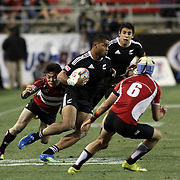 NZ 7's Frank Halai enroute to his first half try at the USA Sevens, Las Vegas, Nevada, USA.  Photo by Barry Markowitz, 2/10/12