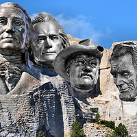 Mount Rushmore in Black Hills, South Dakota Composite of Five Photos<br />