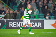 Leigh Griffiths (#9) of Celtic FC shouts toward the Celtic bench after scoring the only goal during the UEFA Europa League group stage match between Celtic FC and Rosenborg BK at Celtic Park, Glasgow, Scotland on 20 September 2018.