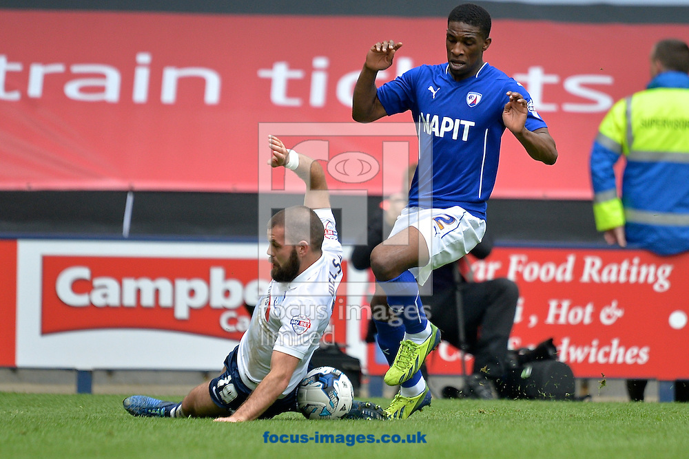 Andrew Little of Preston North End (left) and Tendayi Darikwa of Chesterfield (right) during the Sky Bet League 1 playoff match at Deepdale, Preston<br /> Picture by Ian Wadkins/Focus Images Ltd +44 7877 568959<br /> 10/05/2015