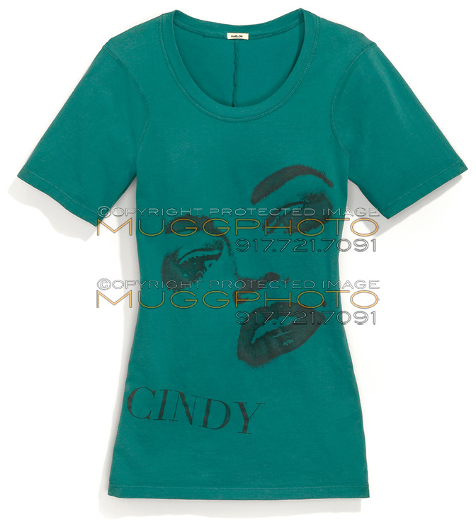 green harlow t-shirt with cindy crawford photo screenprinted