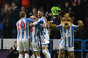 Goal celebration by Huddersfield Town's Joe Lolley  during the Premier League match between Huddersfield Town and West Ham United at the John Smiths Stadium, Huddersfield, England on 13 January 2018. Photo by Paul Thompson.