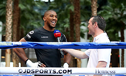 Anthony Joshua (left) is interviewed by Sky Sports News presenter Fraser Dainton (right) during the public work-out at the Brookfield Place, New York.