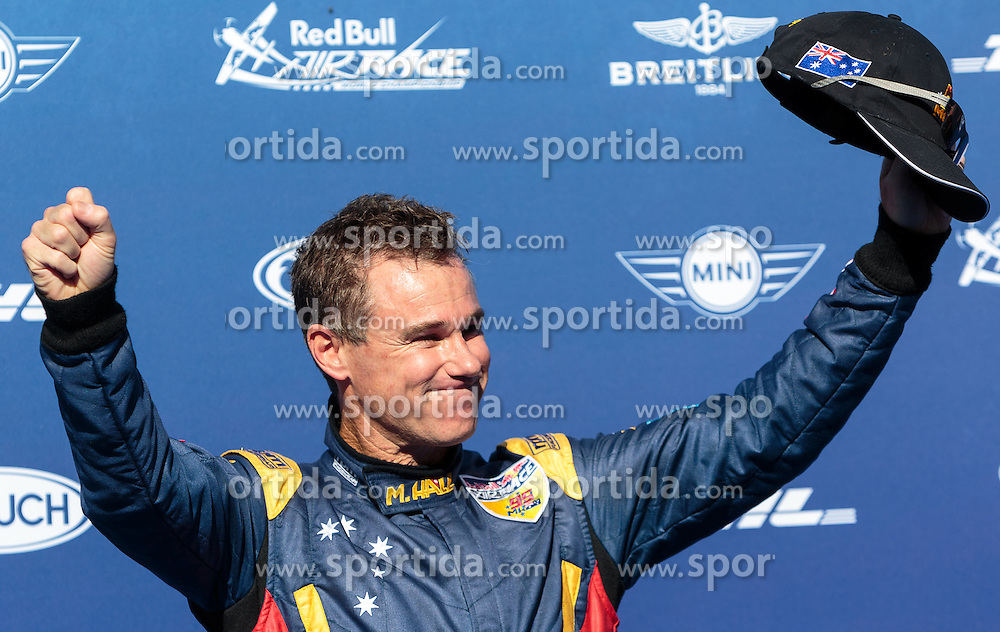 06.09.2015, Red Bull Ring, Spielberg, AUT, Red Bull Air Race, Spielberg, Siegerehrung, im Bild Matt Hall (AUS, 1. Platz) // Winner Matt Hall of Australia celebrate on podiumk during the award ceremony of Red Bull Air Race Championships 2015 at the Red Bull Ring in Spielberg, Austria on 2015/09/06. EXPA Pictures © 2015, PhotoCredit: EXPA/ JFK