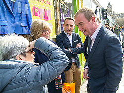 Pictured: Tim Farron and Alex Cole-Hamilton meet some local residents<br /> Liberal Democrat leader Tim Farron MP visited Edinburgh today and joined local MSP Alex Cole-Hamilton and council candidates to campaign in the upcoming council election in StockbridgeGer Harley | EEm 13 April 2017