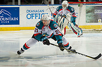 KELOWNA, CANADA - FEBRUARY 2:  Schael Higson #21 of the Kelowna Rockets blocks a shot against the Kamloops Blazers on February 2, 2019 at Prospera Place in Kelowna, British Columbia, Canada.  (Photo by Marissa Baecker/Shoot the Breeze)