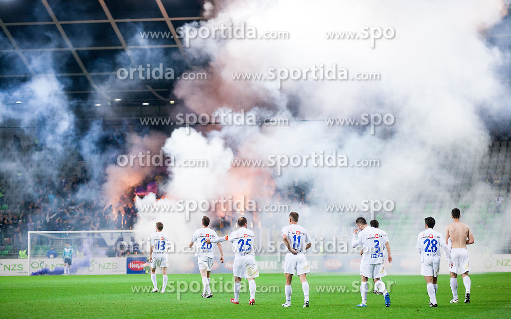 Players of Celje celebrate during football match between NK Celje and NK Maribor in final of Hervis Cup 2011/12, on May 23, 2012 in SRC Stozice, Ljubljana, Slovenia. Maribor defeated Celje after penalty shots and became Slovenian Cup Champion. (Photo by Vid Ponikvar / Sportida.com)