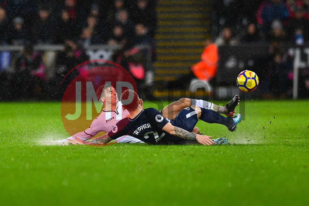 Tom Carroll of Swansea City and Kieran Trippier of Tottenham Hotspur challenge for the ball - Mandatory by-line: Craig Thomas/JMP - 02/01/2018 - FOOTBALL - Liberty Stadium - Swansea, England - Swansea City v Tottenham Hotspur - Premier League