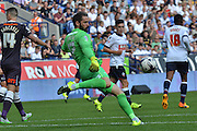 Scott Carson send the balll upfield during the Sky Bet Championship match between Bolton Wanderers and Derby County at the Macron Stadium, Bolton, England on 8 August 2015. Photo by Mark Pollitt.