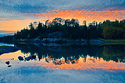 MIddle Lake reflection at dusk<br />Kenora<br />Ontario<br />Canada