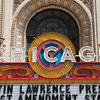 Chicago Theatre sign. The Chicago Theatre is a Chicago Landmark and is listed with the National Register of Historic Places.