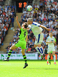 Christian Doidge of Forest Green Rovers challenges Steve McNulty of Tranmere Rovers for the highball - Mandatory by-line: Nizaam Jones/JMP - 14/05/2017 - FOOTBALL - Wembley Stadium- London, England - Forest Green Rovers v Tranmere Rovers - Vanarama National League Final