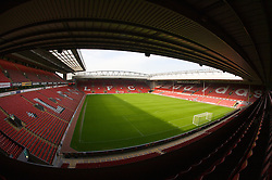 The view of the Anfield pitch from the Anfield Road Upper Stand, centre of Block 227.