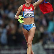 Yuliya Zaripova, Russia, winning the Gold Medal in the Women's 3000m Steeplechase, winning the Women's Pole Vault Final at the Olympic Stadium, Olympic Park, during the London 2012 Olympic games. London, UK. 4th August 2012. Photo Tim Clayton