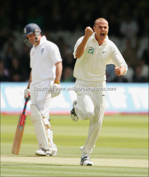 Chris Martin of New Zealand celebrates getting the wicket of Alastair Cook during the fourth day of the first test at Lord's on the 18th of May 2008.<br /> England v New Zealand<br /> Picture by Philip Brown<br /> 07768 485635<br /> www.philipbrownphotos.com<br /> email : philipbrown200@yahoo.co.uk